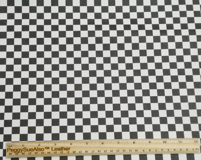 """Leather 8""""x10"""" CHECKERBOARD WHITE and BLACK Cowhide 3-3.25oz/ 1.2-1.3 mm PeggySueAlso™ E7300-01 hides available"""