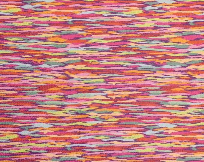 """Leather 8""""x10"""" PSYCHEDELIC ART Rainbow colored Stripes on cowhide 3-3.25oz /1.2-1.3 mm PeggySueAlso™ E1136-06"""