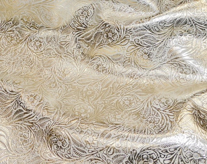 Leather 3 or 4 or 5 or 6 sq ft Garibaldi Rose PLATINUM on BONE Cowhide 2.5 oz / 1 mm PeggySueAlso™ E3610-04 Full hides available
