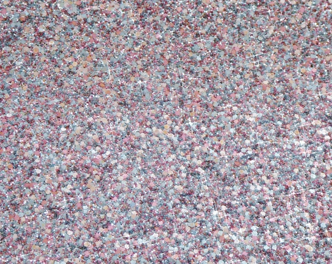 """12""""x12"""" CHUNKY GLITTER Gray Pink Aqua Mauve METALLIC Fabric applied to Leather 4 firmness Thick 6 oz/2.4 mm PeggySueAlso™ E4355-25"""