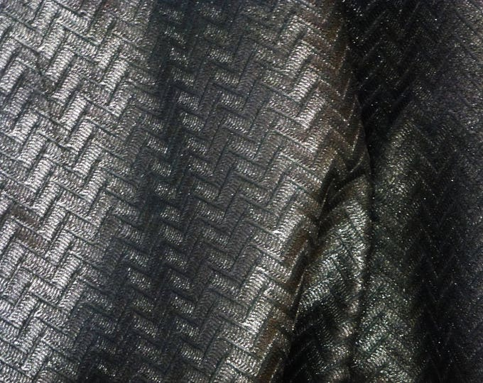 """Metallic Leather 5""""x11"""" Zig Zag Pattern PEWTER Shimmer Embossed Cowhide 2.5-2.75 oz/ 1-1.1 mm #563  PeggySueAlso™ E1120-01"""