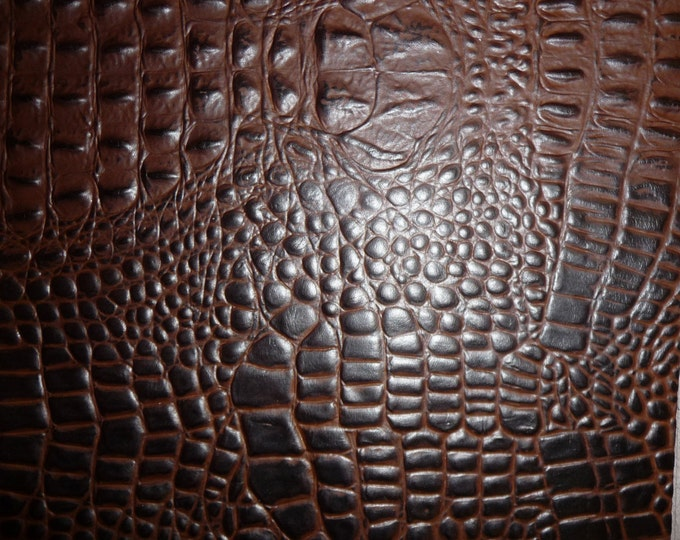 "Leather 20""x20"" Alligator CHOCOLATE with DARK CHOCOLATE Croc gator Cowhide 2.5-2.75oz/1-1.1 mm PeggySueAlso™ E2860-14 Full hides available"