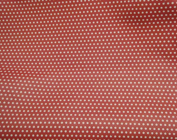 Leather 7-12 sq ft Small WHITE Polka Dots on Matte RED (gray backside) Cowhide 4 dots per inch 3oz / 1.2 mm PeggySueAlso™ E3090-51