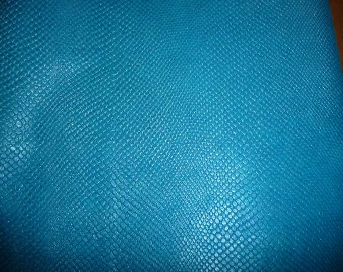 """Pearlized Leather 8""""x10"""" Amazon Cobra AMERICAN TURQUOISE BLUE Embossed Soft Cowhide2.25-2.5oz/.9-1mm PeggySueAlso™ E2972-03 Limited"""