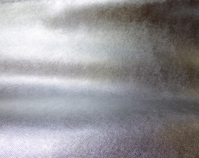 "Metallic Leather 12""x12"" Saffiano SILVER Weave Embossed Cowhide 2.5-3oz/ 1-1.2mm PeggySueAlso™ E8201-01 hides available"