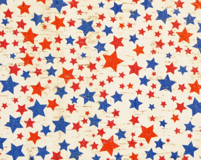 """Cork 12""""x12"""" SCATTERED STARS Red Blue on WHITE Cork applied to leather Thick 5.5oz/2.2mm PeggySueAlso E5610-235"""