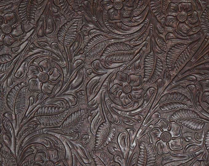 """Leather 8""""x10"""" Garibaldi Rose CHOCOLATE BROWN Fairly FIRM Cowhide 3-3.5 oz/ 1.2-1.4 mm PeggySueAlso™ E3610-07 Full hides available"""