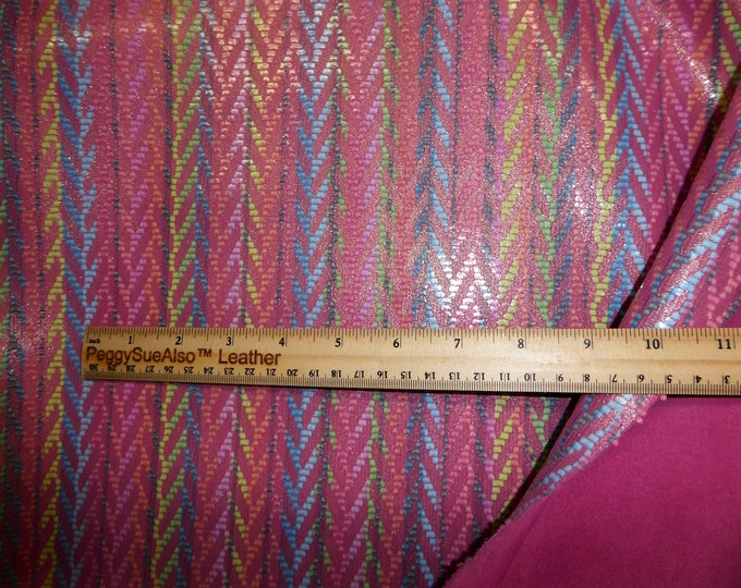 """Leather 12""""x12"""" Rainbow Chevron PINK Cowhide 2.5-3 oz / 1-1.2 mm PeggySueAlso™ E1601-09 hides available"""
