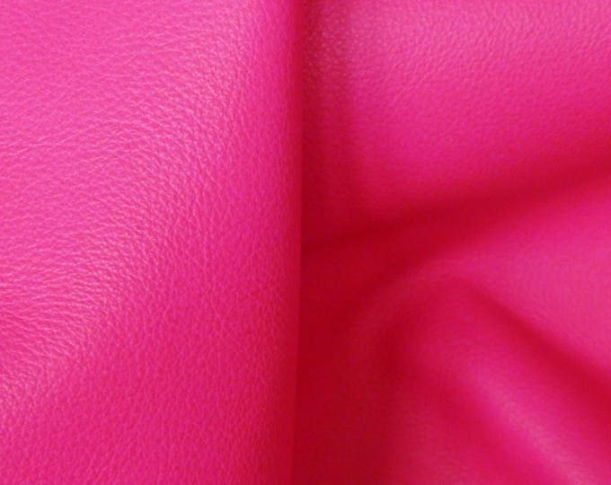 "NEON Leather 12""x12"" Pebbled HOT PINK Neon soft Cowhide shows the grain 2.75-3 oz / 1.1-1.2 mm PeggySueAlso™ E2530-02B"