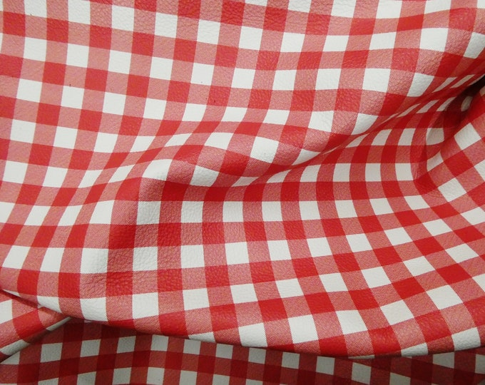 Leather 3-4-5 or 6 sq ft Mini Buffalo Plaid RED and WHITE Cowhide Digital Print 2.5-3 oz/ 1-1.2 mm PeggySueAlso™ E1180-10 hides available