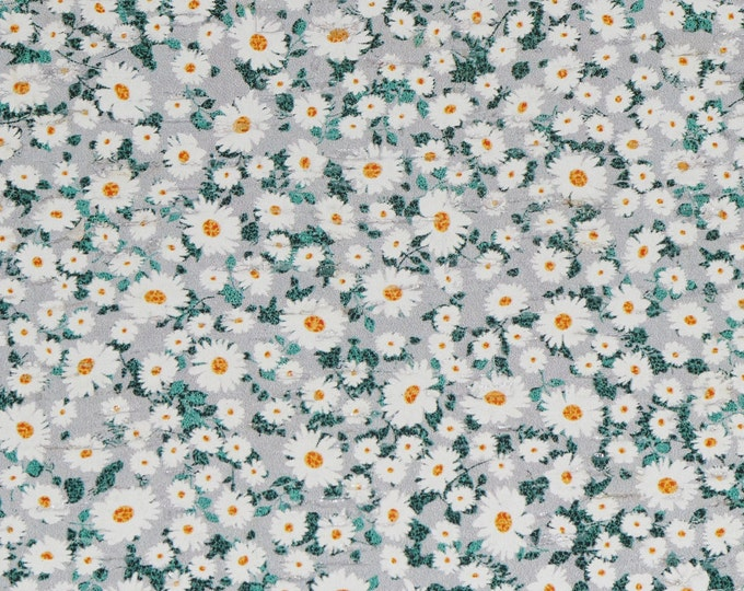 """Cork 12""""X12"""" SIMPLY DAISIES Floral / Flowers CoRK applied to real leather Thick 5.5oz/2.2mm PeggySueAlso E5610-271"""
