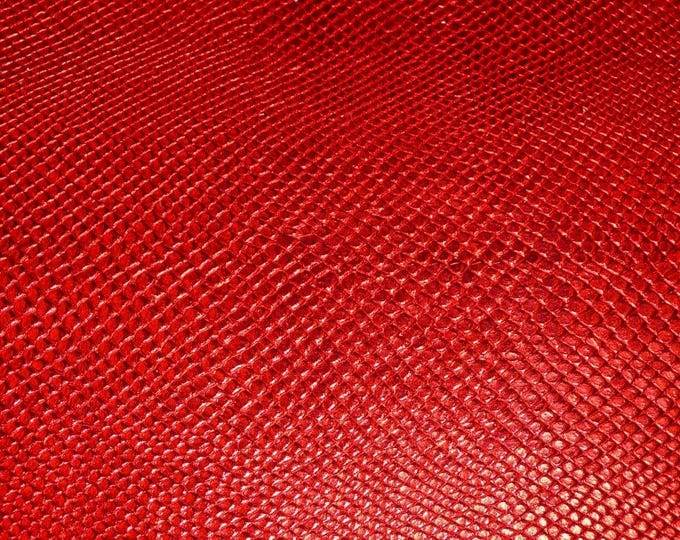 Metallic Leather CLOSEOUT Amazon Cobra RED snake embossed Cowhide 2.5 oz / 1mm #100 #394 PeggySueAlso™ E2846-06