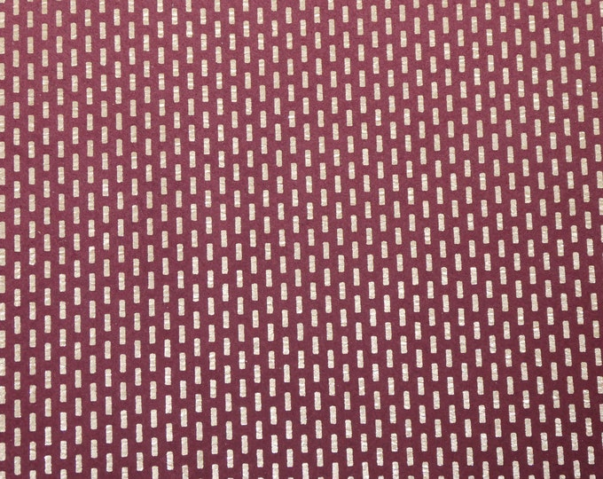 """NeW Leather 12""""x12"""" GOLD Metallic DASHES on Wine / Burgundy Suede 3.5-3.75 oz / 1.4-1.5 mm PeggySueAlso™ E6523-01"""
