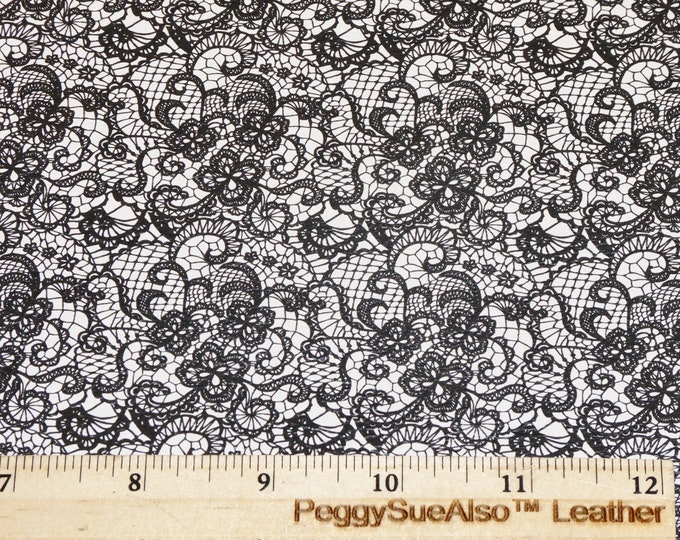 """NeW Leather 12""""x12"""" BLACK LACE LooK on WHITE cowhide 3-3.25oz /1.2-1.3 mm PeggySueAlso™ E1679-02"""