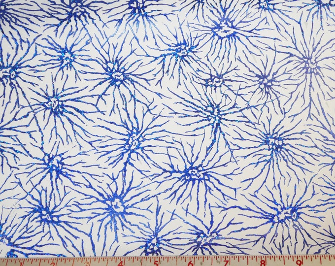 "Metallic Leather 5""x11"" Fireworks ROYAL BLUE on WHITE Embossed Cowhide 3-3.5 oz / 1.2-1.4 mm #166 #118 PeggySueAlso™ E5600-08"