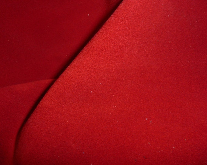 """Suede Leather 8""""x10"""" RED Suede Garment Grade Cowhide 3.5-3.75 oz / 1.4-1.5 mm PeggySueAlso™ E2825-01"""