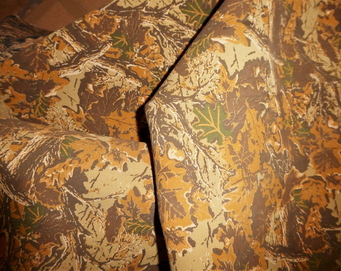 """Suede Leather 12""""x12"""" Camo Safari CAMEL Woodland Camouflage Print Cowhide 3.75 oz / 1.5 mm PeggySueAlso™ E2020-01 hides available"""