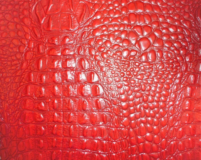 "Leather 20""x20"" Alligator RED with DARK RED Crocodile Embossed Cowhide 3.75-4 oz/ 1.5 - 1.6 mm PeggySueAlso™ E2860-16"