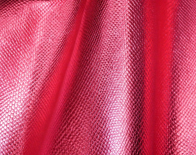 """5 sq ft 20""""x36"""" Amazon Cobra Hot PINK Metallic Small Print  Embossed Cowhide 2.5 oz / 1mm #452 PeggySueAlso™ E2846-03"""