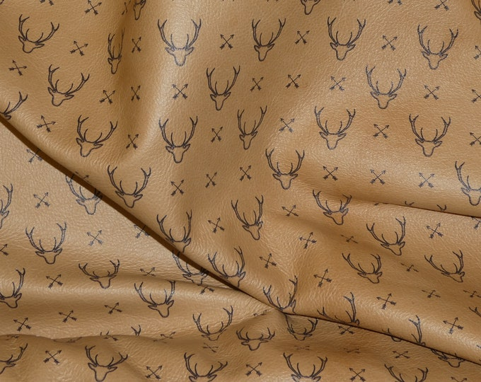 Leather 3 or 4 or 5 or 6 sq ft Deer Head Silhoutte on HONEY Cowhide 3-3.25 oz / 1.2-1.3 mm PeggySueAlso™ E1310-02 hides available