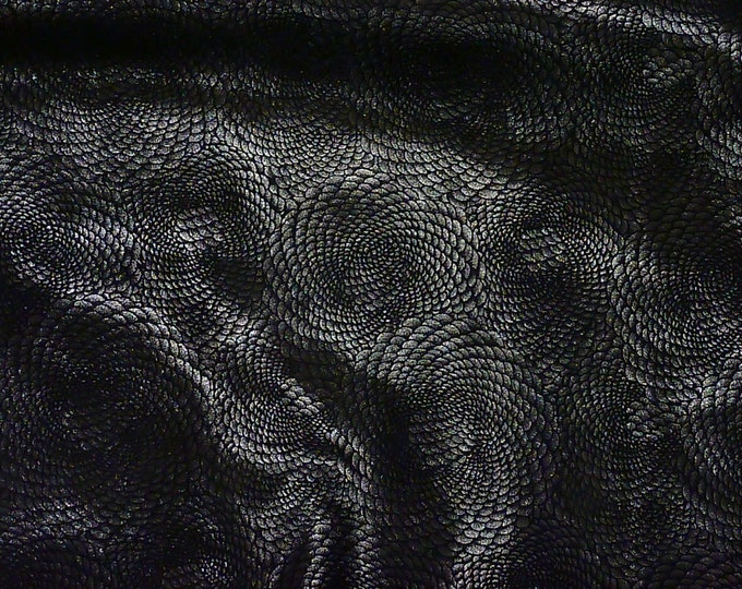 "Metallic Leather 8""x10"" Chinese Dragon Black ANTHRACITE Metallic On BLACK 3-3.5 oz / 1.2-1.4 mm  PeggySueAlso™ E1420-10 Hides available"