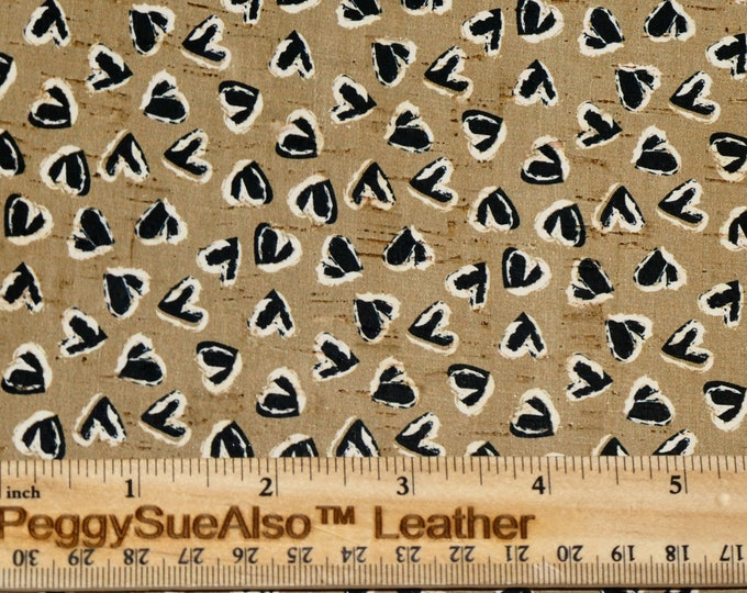"""Cork 12""""x12"""" BLACK WHITE HEARTS on Tan cork applied to Leather Thick 5.5oz/2.2mm PeggySueAlso™ E5610-234"""