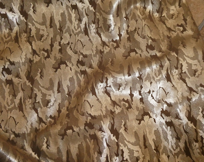 """Metallic Leather 12""""x12"""" Camo Soft GOLD on CHOCOLATE Brown Suede Cowhide 3-3.5 oz / 1.2-1.4 mm PeggySueAlso™ E2030-13 hides available"""