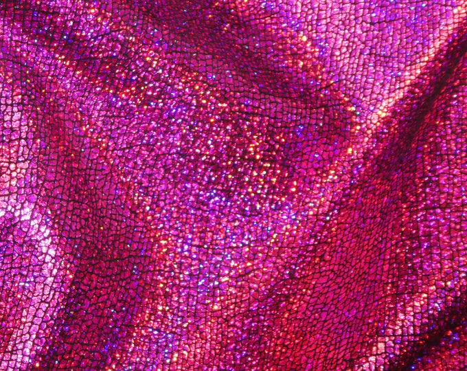 """Metallic Leather CLOSEOUT 8""""x10"""" CRACKED FUCHSIA Hot Pink Holographic Halo Cowhide 2.75-3 oz / 1.1-1.2 mm #380 PeggySueAlso™ E1401-04"""