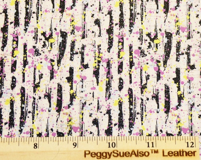 """CORK Leather 5""""x11"""" Abstract PAINT SPLASHED on Black and White stripe CoRK applied to leather 5.5oz/2.2 mm PeggySueAlso™ E5610-171"""