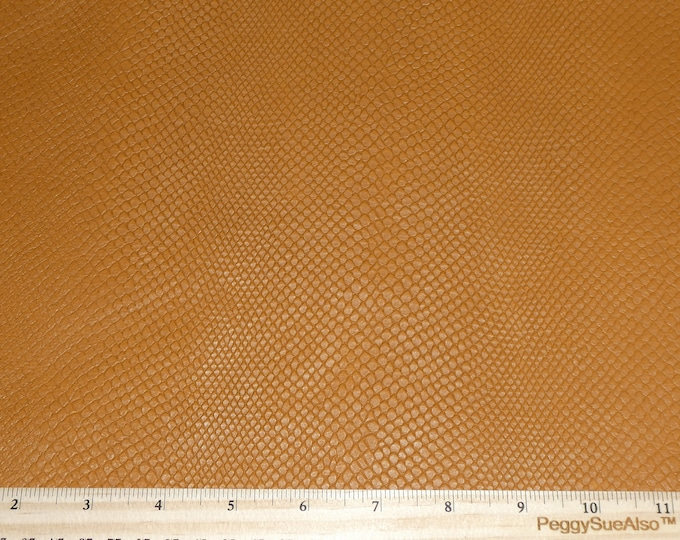 "Leather 12""x12"" Amazon Cobra Matte DISTRESSED BUTTERSCOTCH  Embossed Calfskin (Read DESCRIPTION) 2-2.25 oz/0.8-0.9mm PeggySueAlso™ E2818-02"