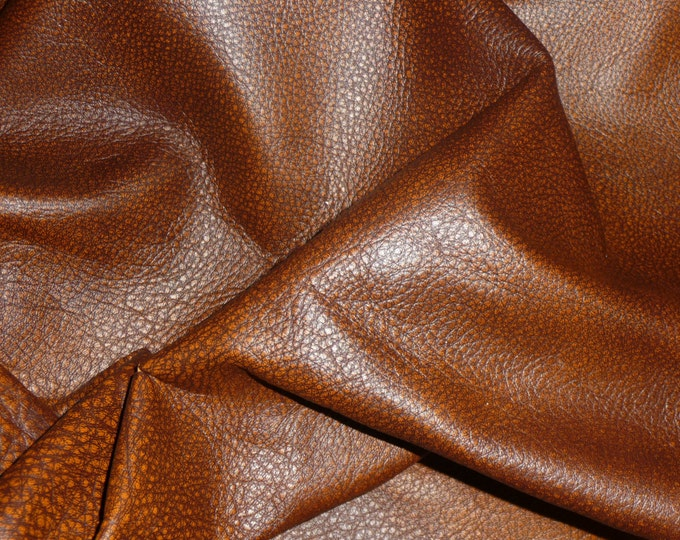 "Leather 20""x20"" Bomber King HAZELNUT Brown and Rust Marbled Cowhide 3-3.25oz / 1.2-1.3mm PeggySueAlso™ E2882-03 Full hides available"