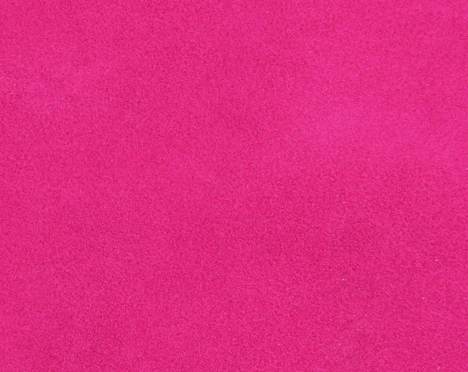 """Suede Leather NEW dye lot 8""""x10"""" Bright HOT PINK / Fuchsia Garment Grade Cowhide 3-3.5 oz /1.2-1.4 mm PeggySueAlso™ E2825-13"""
