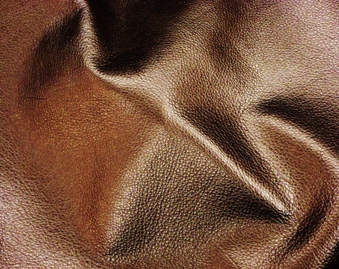 "BRONZE Pebbled Metallic 8""x10"" SOFT cowhide - shows the grain - Leather 3-3.25 oz / 1.2-1.3 mm PeggySueAlso™ E4100-08"