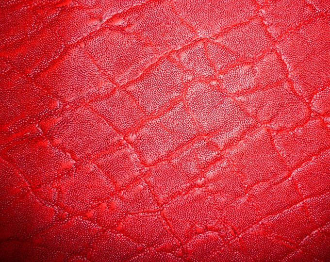 "Leather CLOSEOUT 5""x11"" Elephant Distressed RED Embossed Cowhide 2-2.25 / .8-.9 mm #353 PeggySueAlso™ E2899-13"