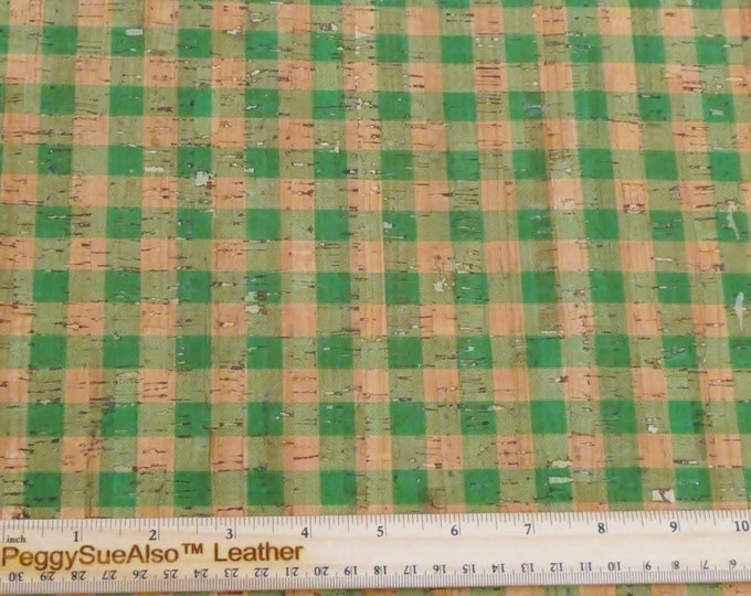 "Cork and Leather 8""x10"" GREEN & CORK Tartan PLAID Cork applied to Cowhide for body/strength Thick 5oz/2mm PeggySueAlso™ E5610-90 hides too"