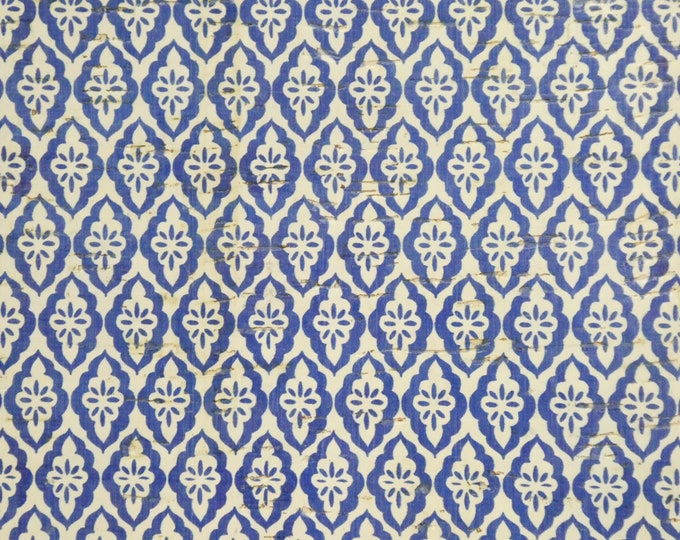 """8""""x10"""" Cork DIAMOND TURKISH TILES Blue on White applied to Leather  Thicker than before 6-7oz/2.4-2.8mm PeggySueAlso E5610-47"""