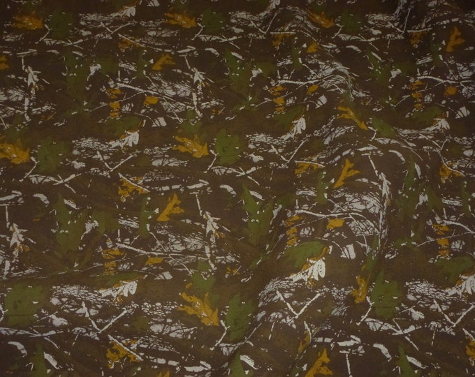 """Suede Leather 20""""x20"""" Camo Safari BROWN Woodland Camouflage Print Cowhide 3.75 oz / 1.5 mm PeggySueAlso™ E2020-01 hides available"""