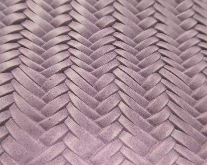 """Leather 8""""x10"""" Braided ITALIAN Fishtail ORCHID Embossed Cowhide 2.5oz / 1 mm PeggySueAlso™ E3160-02 Hides available"""
