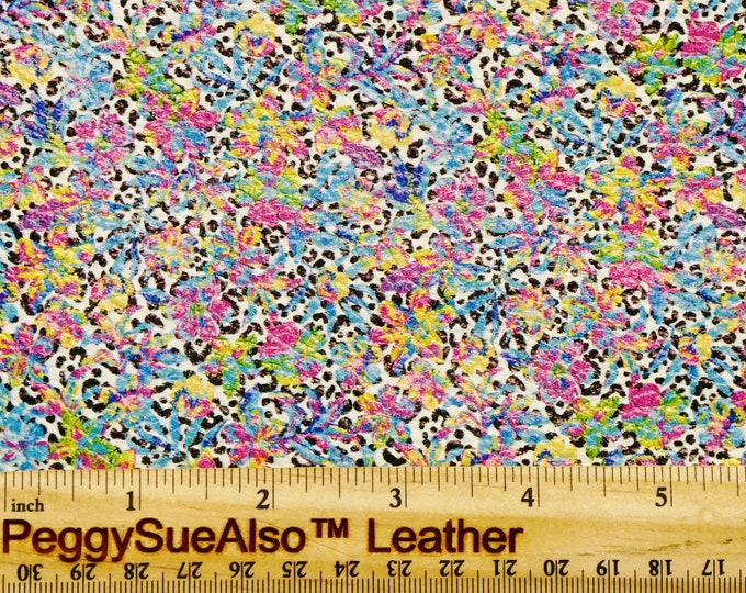"""Leather 8""""x10"""" HAWAII HIBISCUS Print Cowhide 3-3.5 oz/1.2-1.4 mm PeggySueAlso™ E2550-67 Hides Available"""