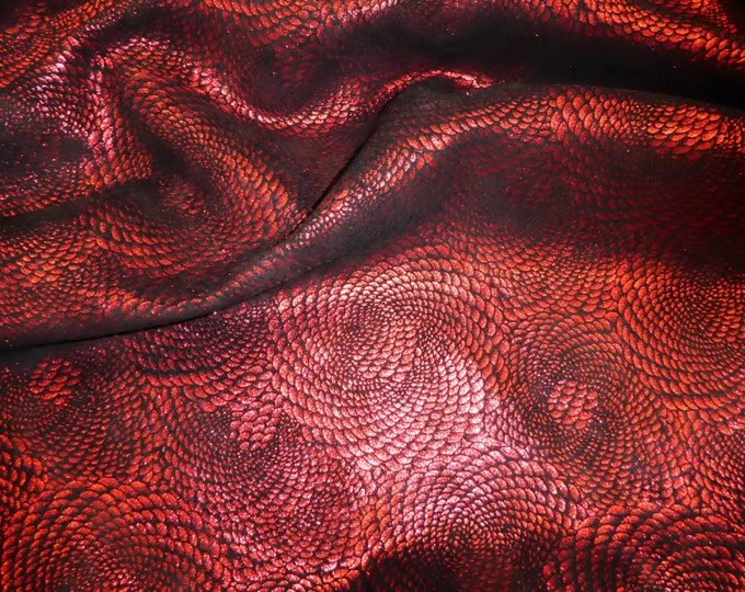 Leather 3 or 4 or 5 or 6 sq ft CHINESE DRAGON Red Metallic On Black Cowhide 3-3.5 oz / 1.2-1.4 mm PeggySueAlso™ E1420-12