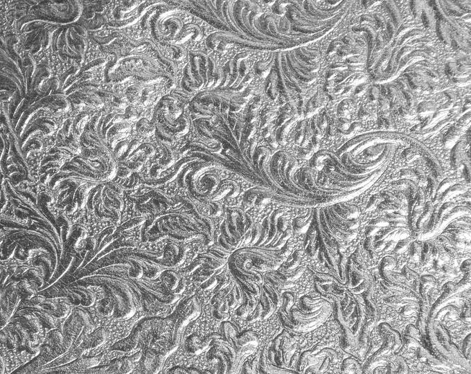 """Metallic Leather 12""""x12"""" Western SADDLE pattern SILVER embossed SOFT Cowhide fairly thin 2 oz/0.8 mm PeggySueAlso™ E2816-08"""