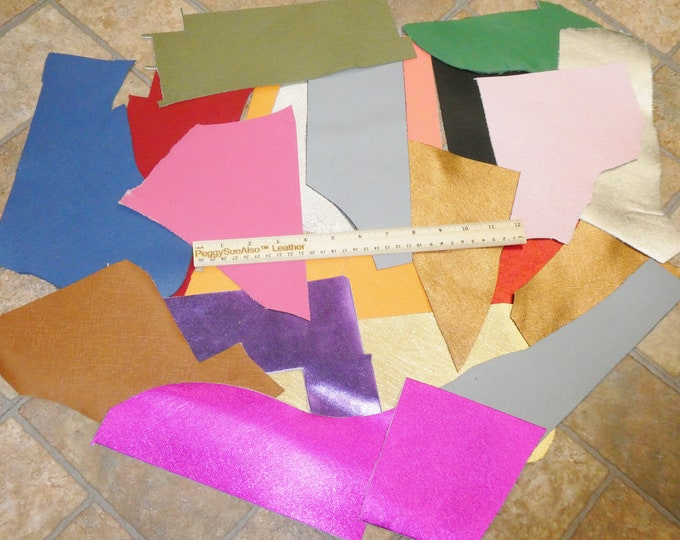 SAFFIANO Scrap Leather 4 sq ft overall Assorted colors FREE Priority Shipping 2.5-3 oz/1-1.2 mm PeggySueAlso™ E8201