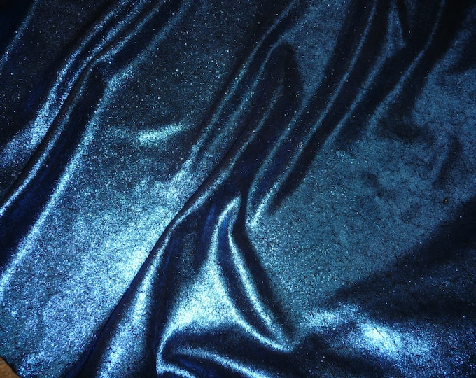 "Leather 12""x12"" Vintage Crackle ROYAL Blue Metallic on BLACK Suede 3-3.5 oz / 1.2-1.4 mm PeggySueAlso™ E2844-35 Full hides too"