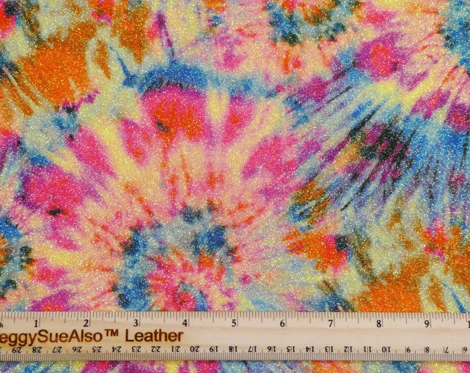 "FINE Glitter 5""x11"" TiE DYE Glitter Fabric applied to Leather Thick 5-5.5oz /2-2.2 mm PeggySueAlso™ E4355-31"