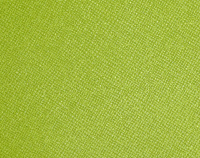 "Leather 8""x10"" Saffiano NEON LIME GREEN Weave Embossed Firm Italian Cowhide 2.5-3oz/ 1-1.2mm PeggySueAlso™ E8201-54 hides available"
