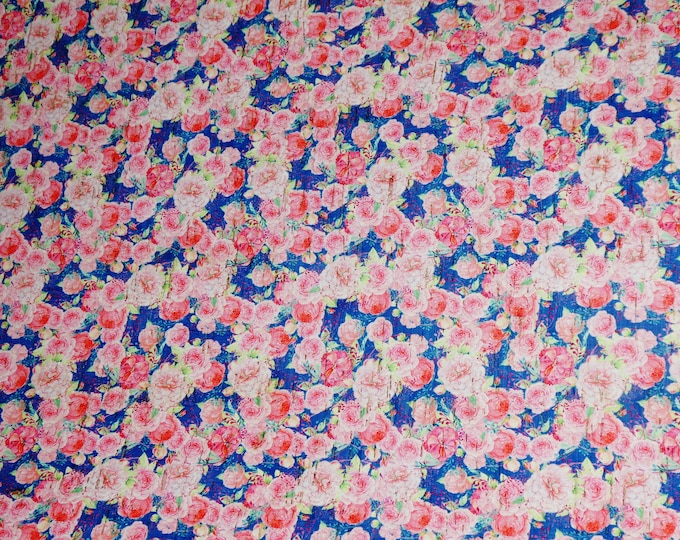 "CLOSEOUT 5""x11"" Pink flowers on Navy applied to CoRK on Cowhide Leather for body/strength Thick 5oz/2mm PeggySueAlso™ E5610-45"