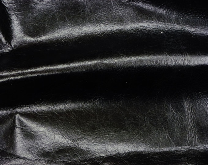 Leather 3 - 6 sq ft RIVIERA Pull Up effect BLACK Shiny Distressed Aniline Dyed Cowhide 2.5-3oz/1-1.2mm PeggySueAlso™ E2932-07 hides too