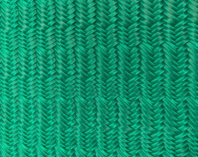"12""x12"" FISHTAIL Italian Braided EMERALD / JADE Green Leather 2.5-3 oz /1-1.2 mm PeggySueAlso™ E3160-71 hides available"