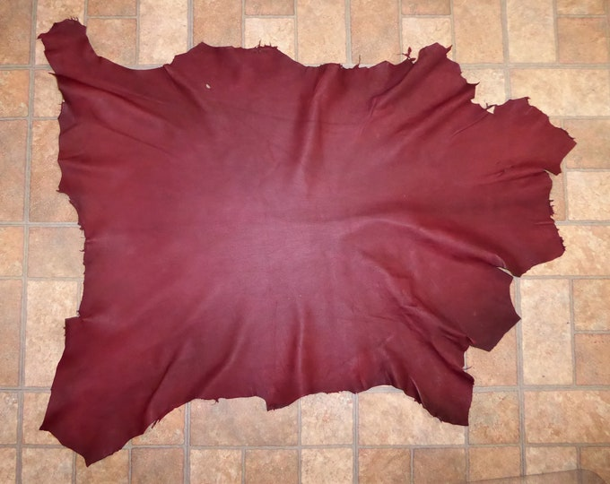 Leather 7-8 sq ft Cationic OXBLOOD Finished Mottled Goatskin Hide (a hide similar to this one) 2.75-3 oz / 1.1-1.2 mm PeggySueAlso™ E2787-02