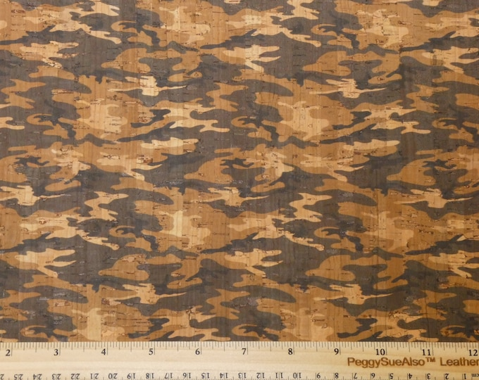 "ReSTOCKED CORK 12""x12"" Dark GRAY Tan and natural cork CAMO on cork applied to Leather for body/strength Thick 5.5 oz/2.2 mm E5610-118"